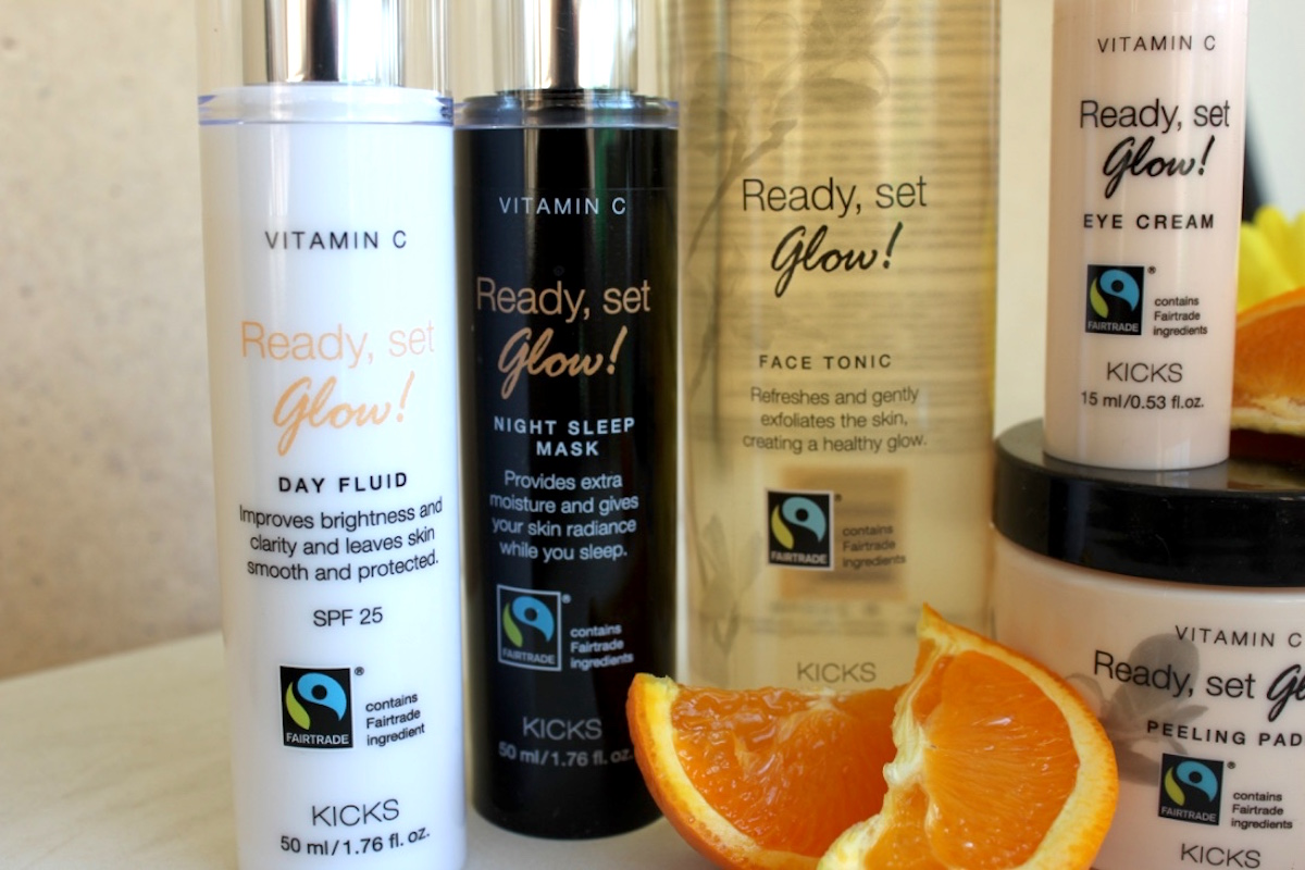 Kicks vitamin c ready set glow, day fluid och night sleep mask