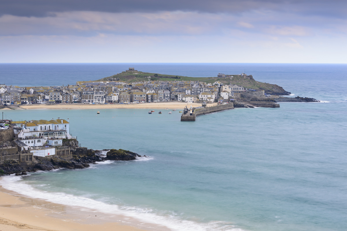 St Ives town and harbour viewed from above Porthminster beach.