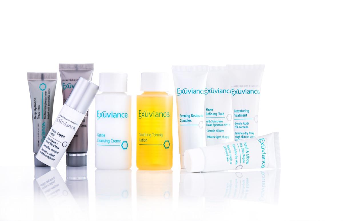 Exuviance har hudvård med bland annat syror