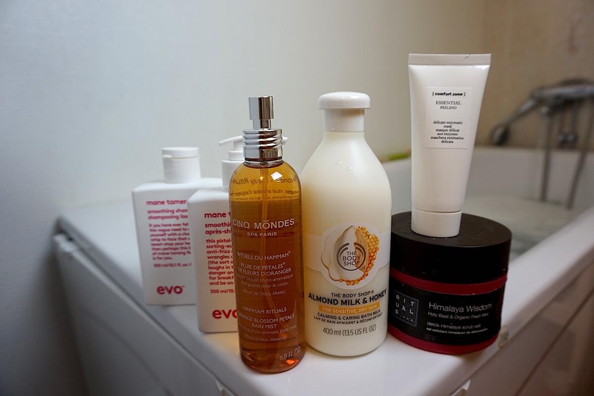 spa hemma med produkter från evo, cinc modes, the body shop, comfort zone och rituals