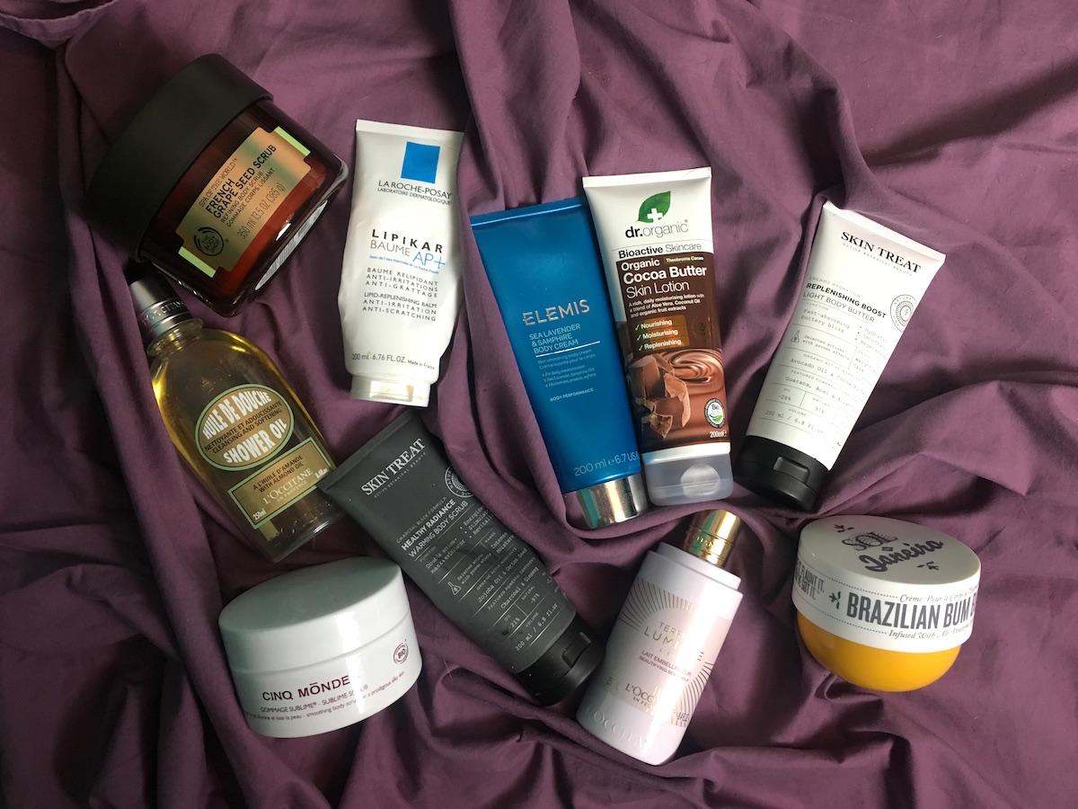 Produkter för torr hud på kroppen från bland annat The Body Shop Elemis och Skin Treat