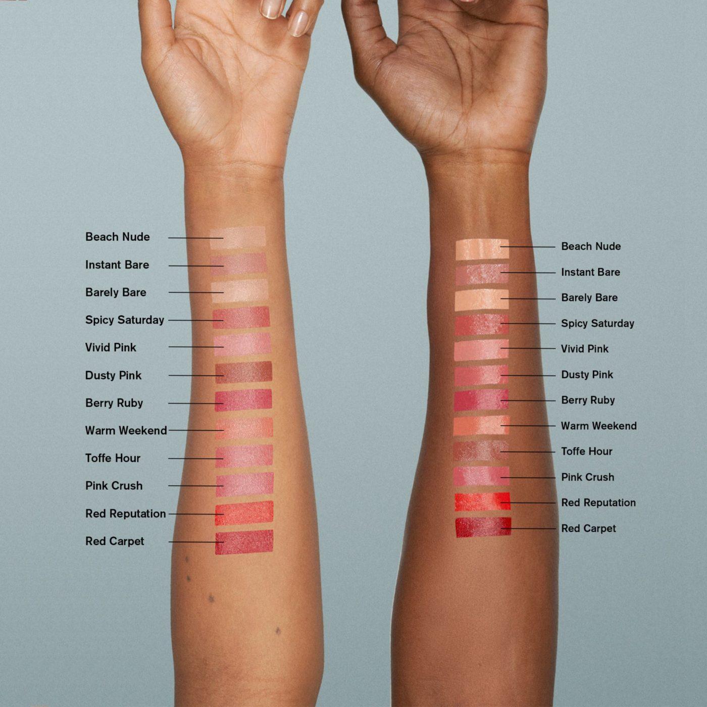 Alla nyanser av Full on Satin lipstick från BeautyAct på två armar