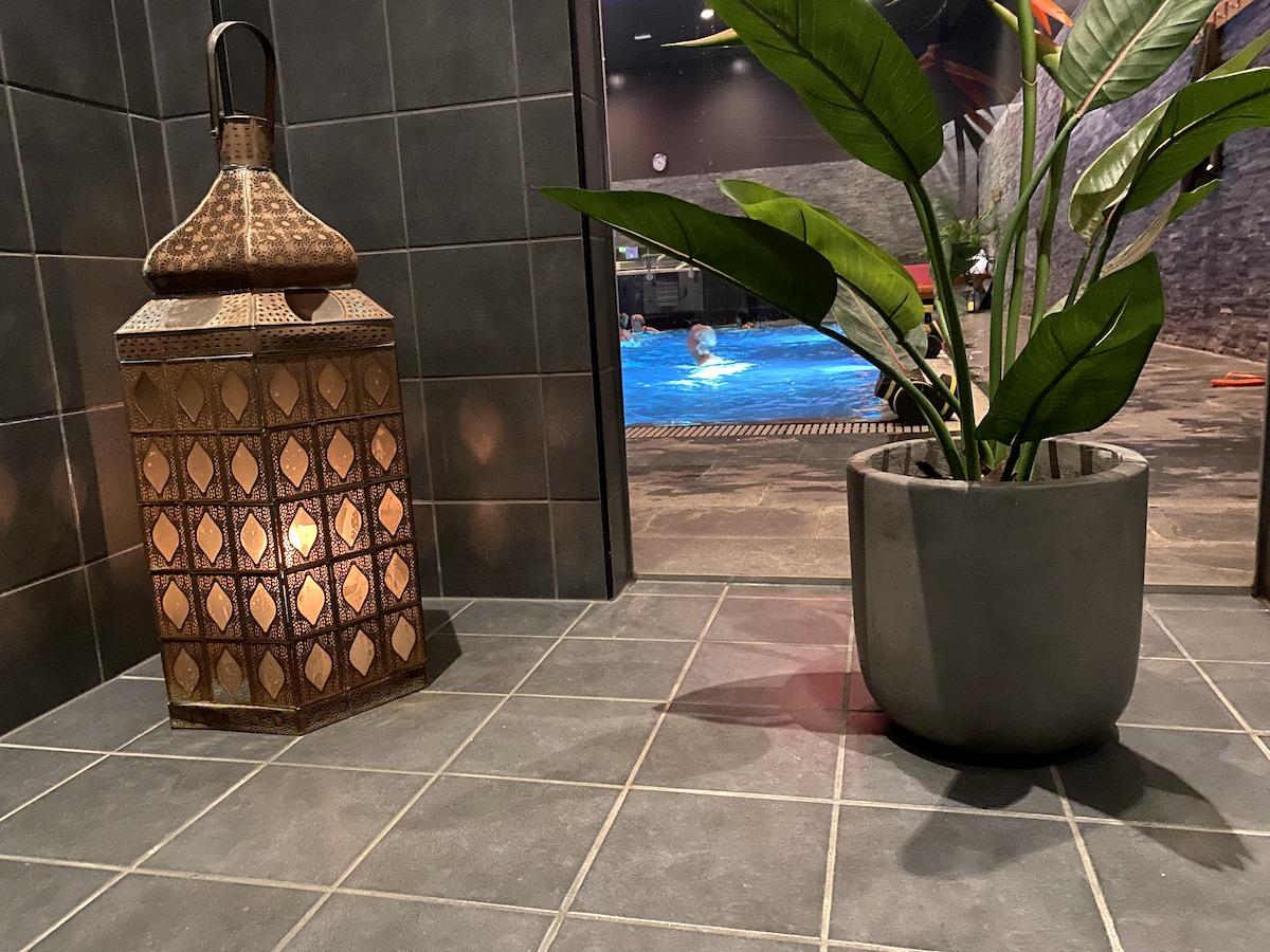 En vacker marockansk lykta med ljus och en grön växt mot grå vägg. I bakgrunden skymtar en pool.